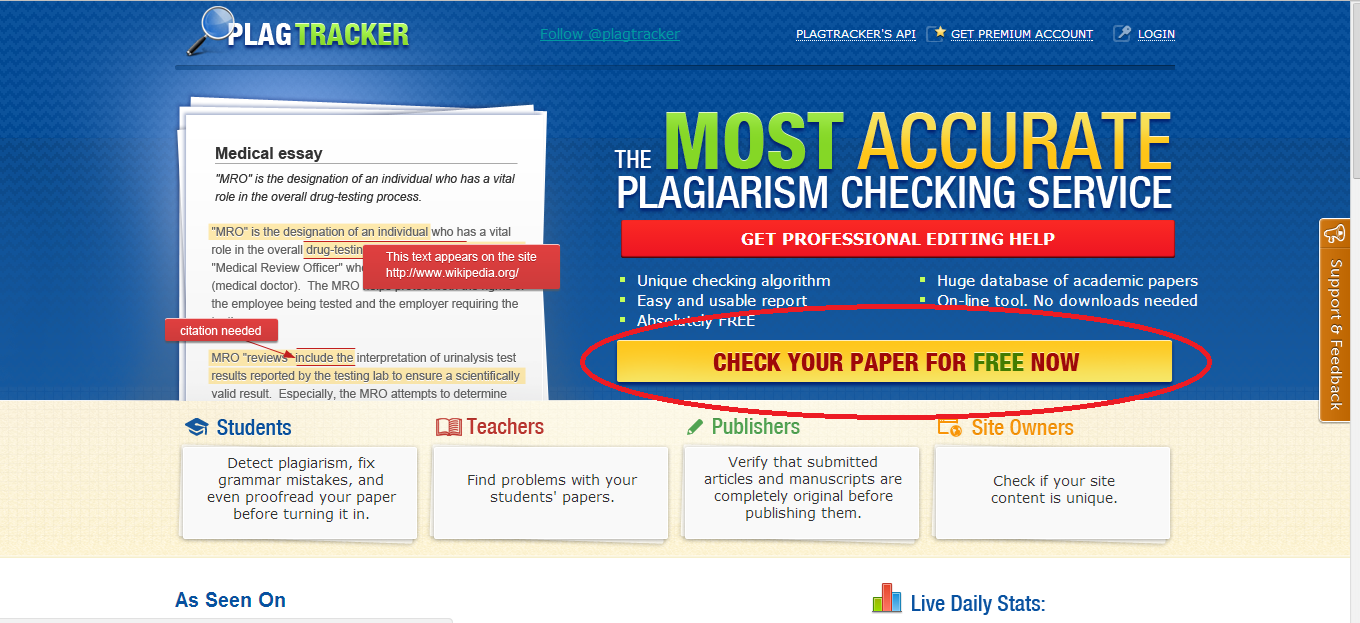 check your essay for plagiarism free The most accurate plagiarism checker tools for students, teachers, and seo professionals 100% free plagiarism detection and duplicate content checker software.